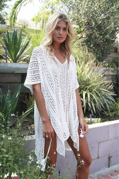 #CU20197 Boho Crochet Square Cut Cover Up