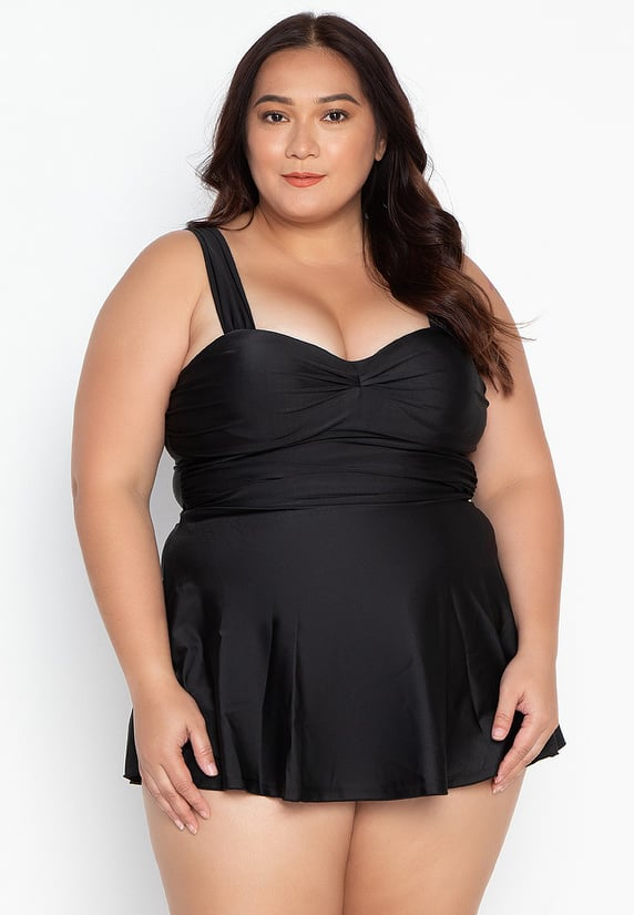 #18020 Plus Size Open Back Dress Swimsuit