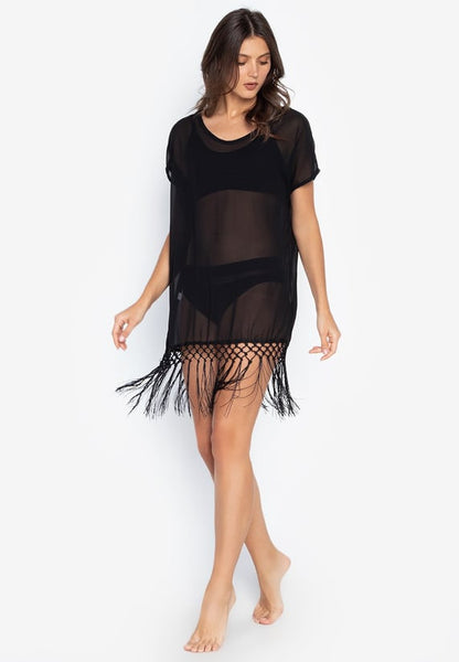 #CU20204 Plain Diamond Fringe Cover Up