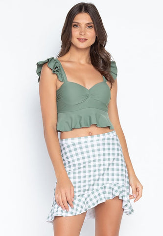 3in1 Crop Top Ruffled Swimsuit