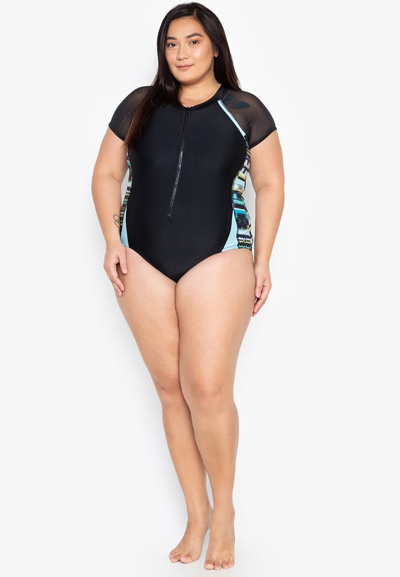 #FLB-086 Plus Size Mesh Short Sleeve Zipped Monokini