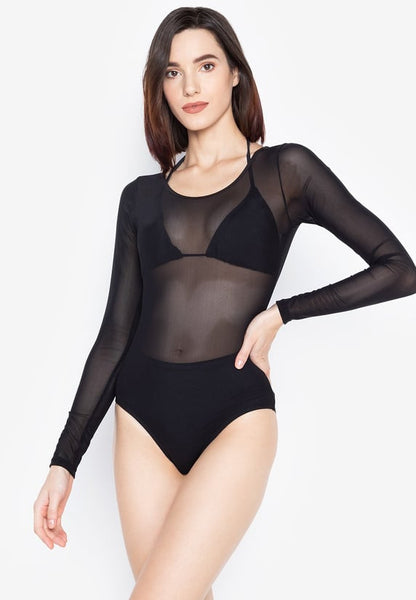 #FLB-103 See Through Long Sleeves Bodysuit