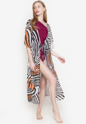 #CU20221 Long Zebra Print Cover Up