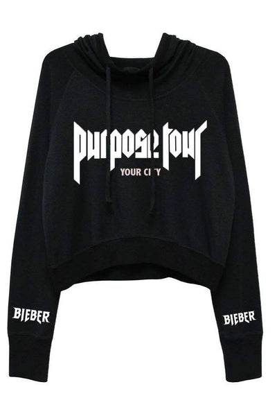 MYCOOLBIEBER designs Personalised Purpose Tour Black Hoodie - CROPPED