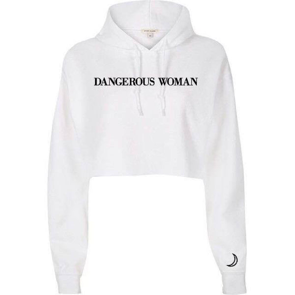 @arianatorarmey design DANGEROUS WOMAN Cropped White Hoodie