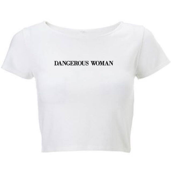 @arianatorarmey designs DANGEROUS WOMAN white cropped top
