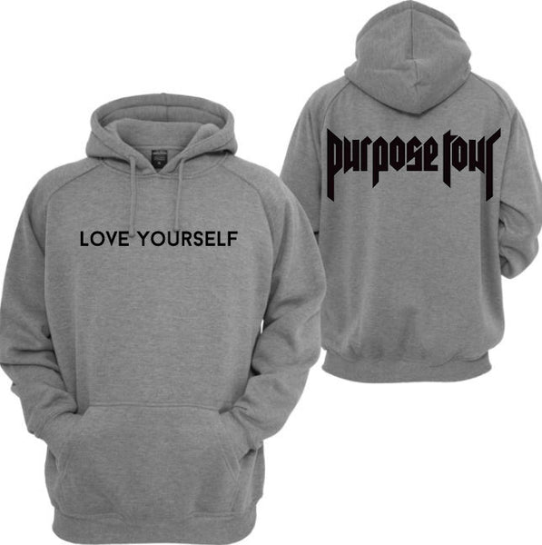 @NoXPressure Designs LOVE YOURSELF Purpose Tour Grey Hoodie