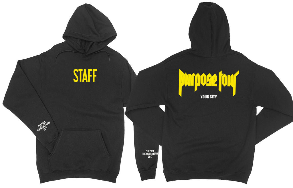 Personalised Purpose Tour Staff Black Hoodie! Yellow VFILES style print. Choose your own city!