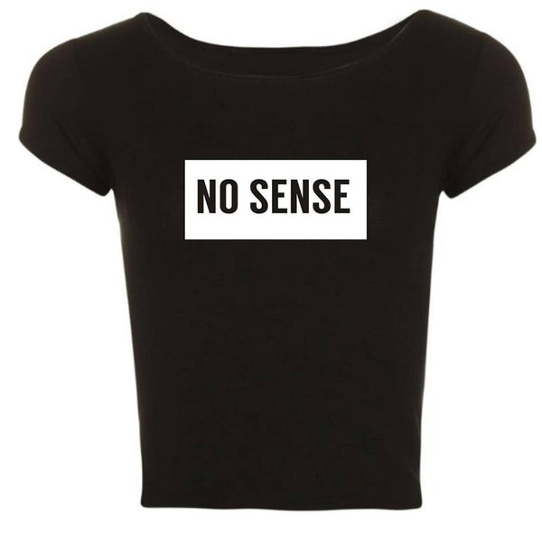 ATLBIEBUR designs NO SENSE Black cropped t-shirt
