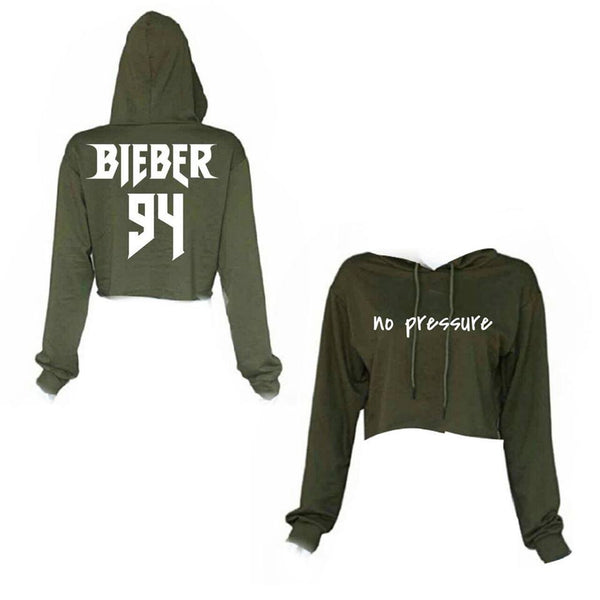 ATLBIEBUR designs No Pressure Bieber 94 Cropped Military Green Hoodie