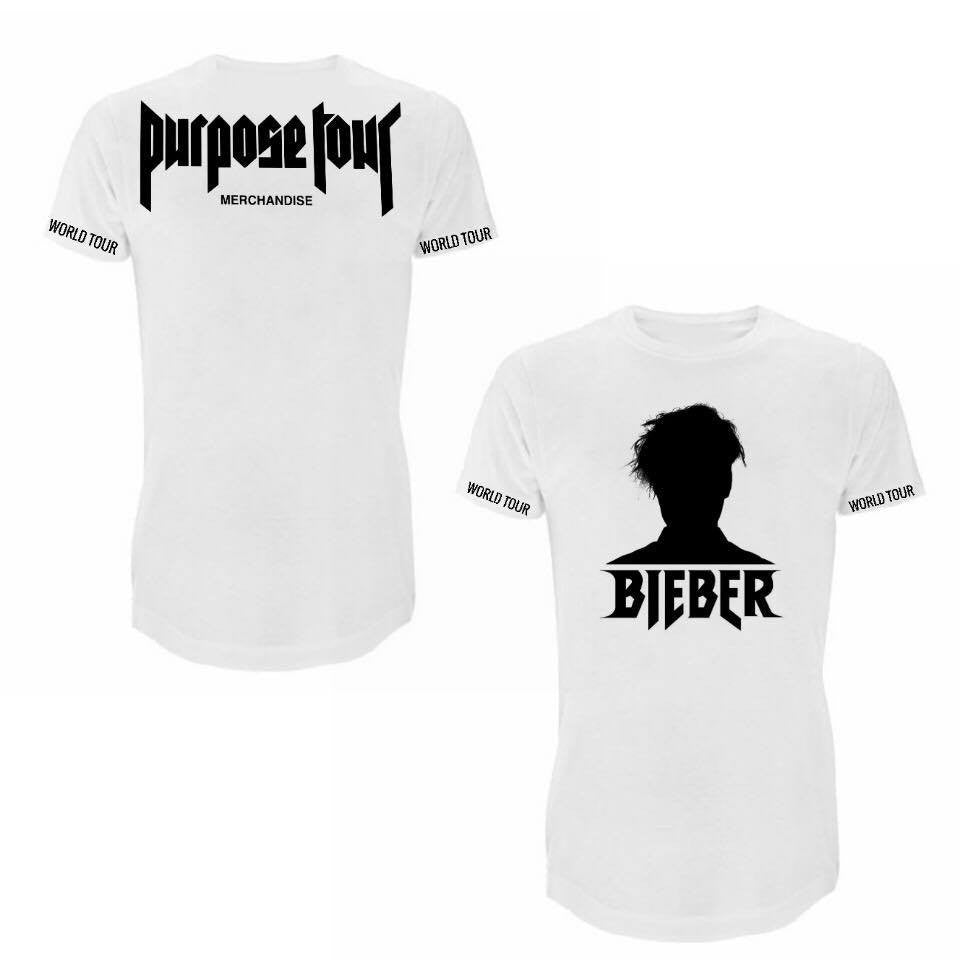 ATLBIEBUR designs Purpose Tour Merchandise - Bieber Silhouette White T-Shirt