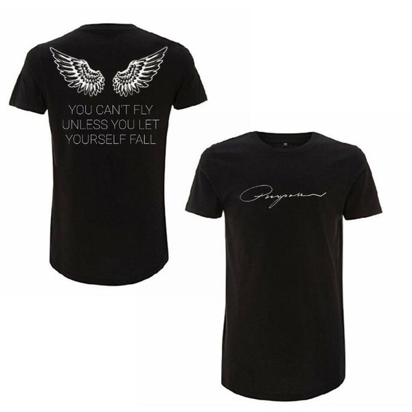 ATLBIEBUR designs You Can't Fly Unless You Let Yourself Fall - Purpose Black T-Shirt