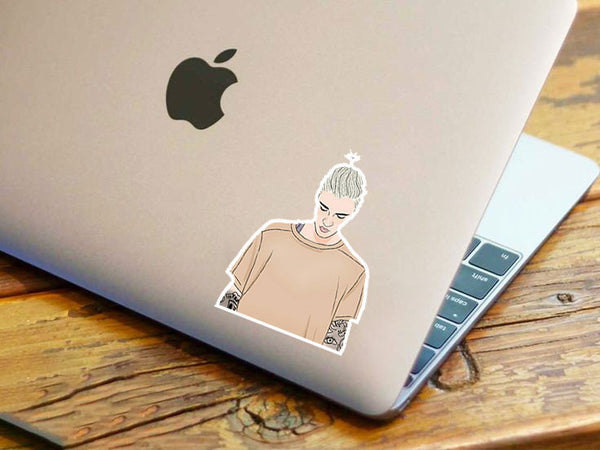 Bieber Drawing Sand Shirt Sticker