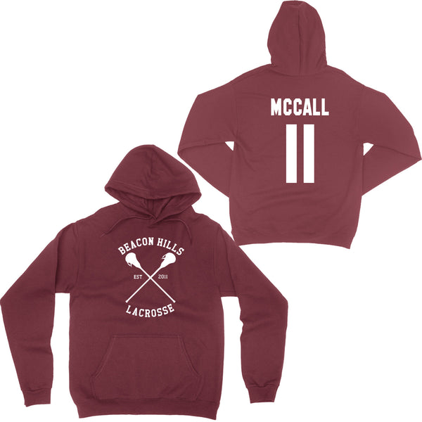 Beacon Hills Lacrosse - Design 1 - Maroon Hoodie. Choice of names on back!