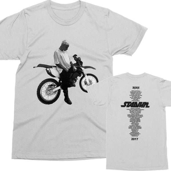 Bieber Dirtbike White T-shirt with STADIUM TOUR dates on back