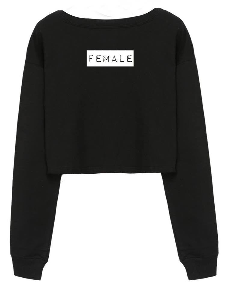 @arianatorarmey design FEMALE - Cropped Black Sweater SWEATSHIRT