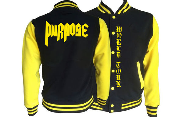PURPOSE world tour Black/Yellow Varsity Jacket