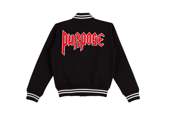 PURPOSE world tour Black/Red Varsity Jacket