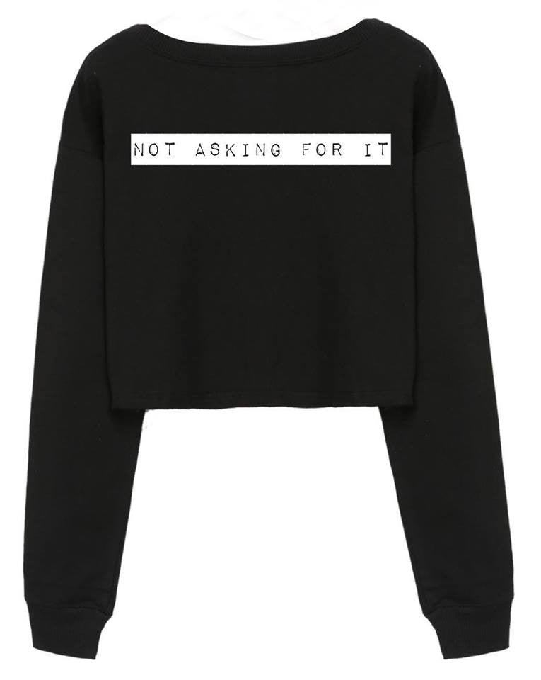 @arianatorarmey design NOT ASKING FOR IT - Cropped Black Sweater SWEATSHIRT