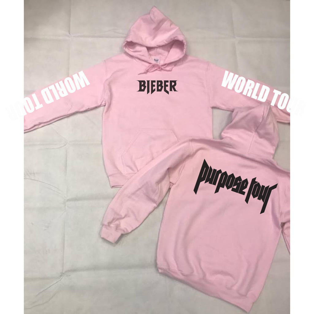Purpose World Tour Baby Pink Hoodie- BIEBER