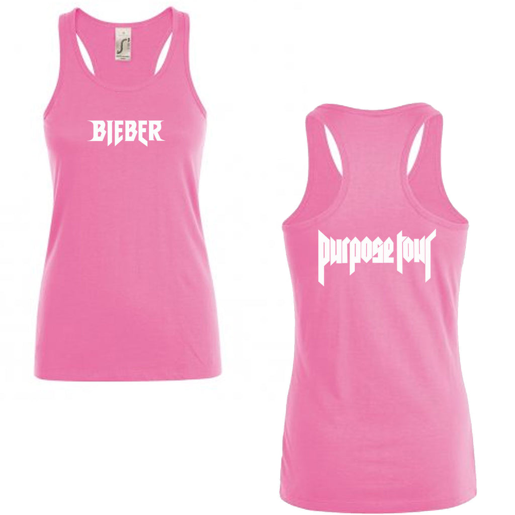SUMMER - Ladies fitted Racerback PINK Vest/Tank Top Bieber Purpose Tour