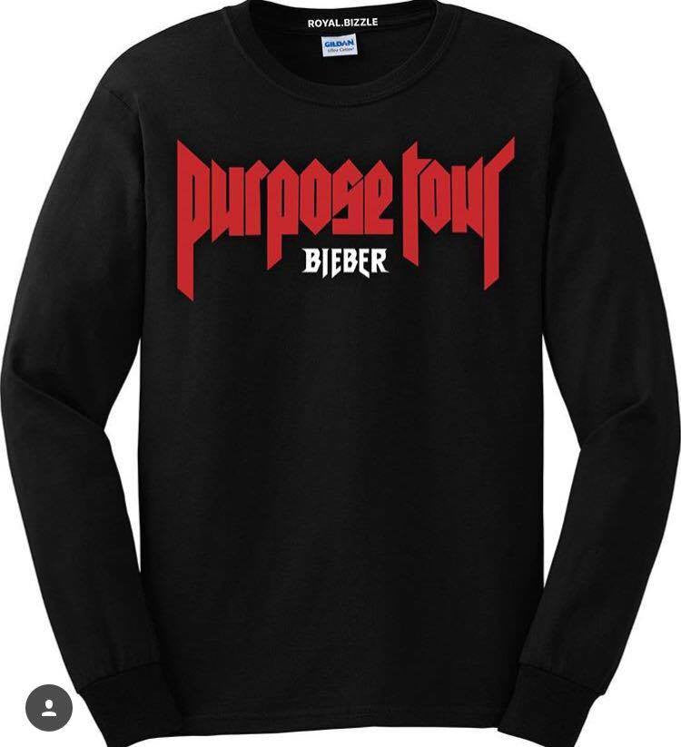 Royal.Bizzle designs Purpose Tour Bieber Black Long Sleeve t-shirt