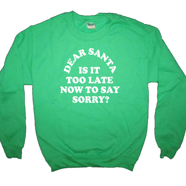 Dear Santa is it too late now to say Sorry? Green SWEATSHIRT