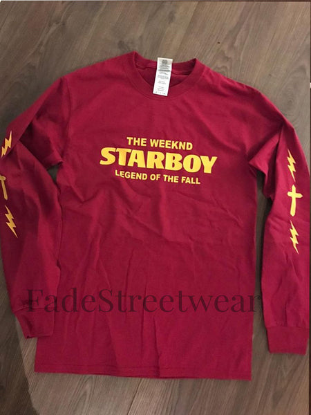 The Weeknd Starboy Long Sleeve Red T-Shirt