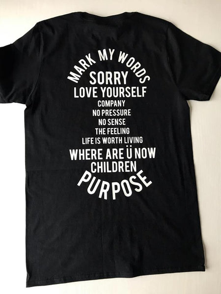 Bieber - Purpose Album List NEW Black Short Sleeve t-shirt street