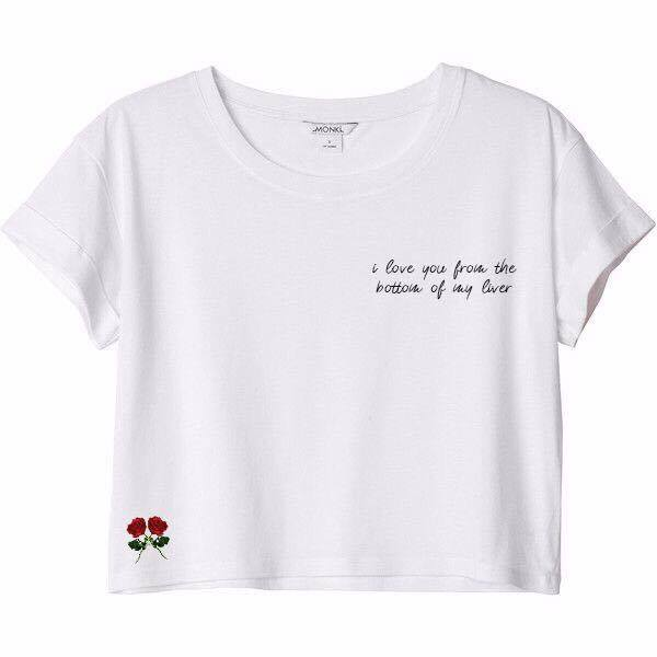 MYCOOLBIEBER designs I Love You From The Bottom of My Liver white cropped top
