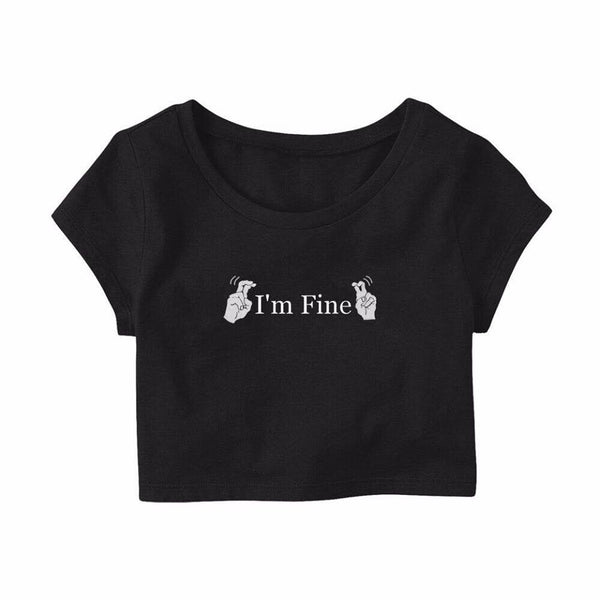 "MYCOOLBIEBER designs ""I'm Fine"" Black cropped top"