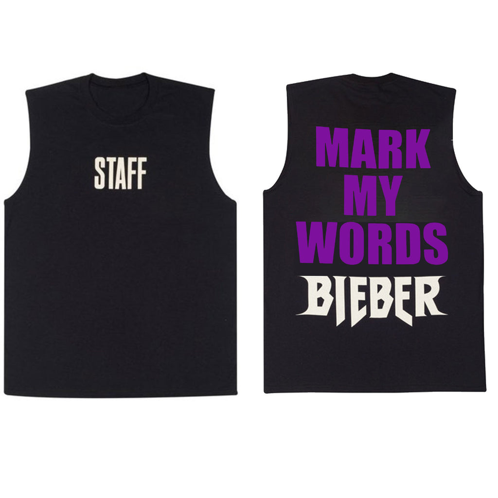 Bigger Than Satan - purple print Black Sleeveless Tank Shirt