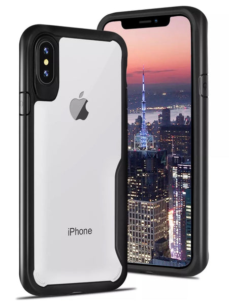 iPhone X, Shockproof Transparent TPU Case in Black - JandJCases