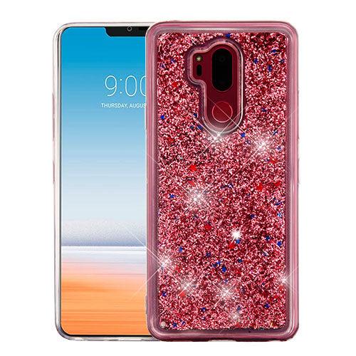 LG G7 Thin Q, Rose Gold Quicksand Glitter Hybrid Phone Case