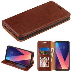 LG V30, MYBAT Brown MyJacket Wallet(with Tray) - JAndJCases