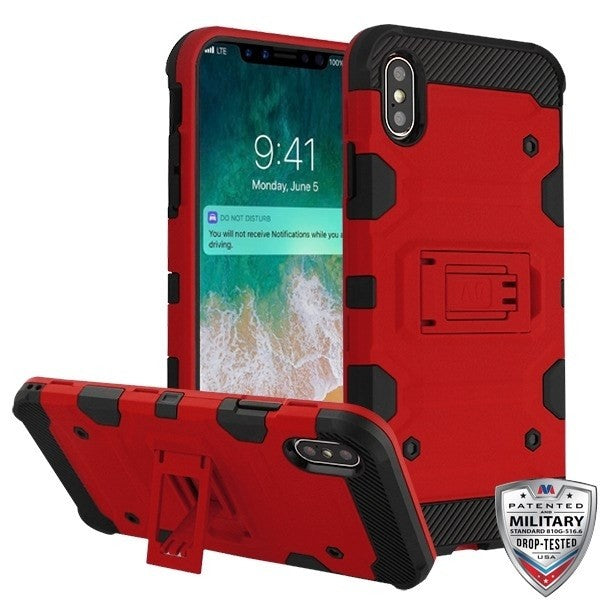 iPhone XS Max Storm Tank Hybrid Phone Case - Red/Black
