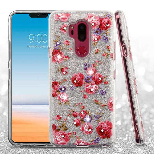 LG G7 Thin Q, Full Glitter Hybrid Phone Case (with Diamonds)(with Package) in 2 Colors