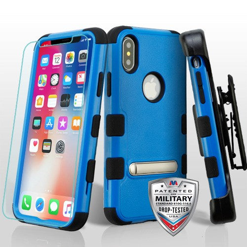 iPhone X, TUFF Hybrid Case Combo with Magnetic Stand, Black Holster, Tempered Glass - JandJCases
