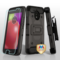 Motorola Moto E4, (XT 1762, 1766), MYBAT Dark Grey/Black Kinetic Hybrid Protector Case (with Black Holster and Tempered Glass) - JAndJCases