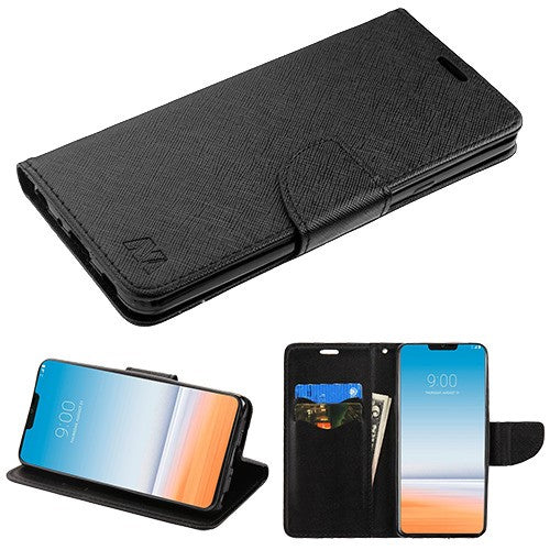 LG G7 Thin Q, Black Pattern/Black Liner MyJacket wallet (with card slot)(84A) -WP