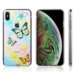 iPhone XS Max Luxmo Decoration Series Dual IMD Phone Case w/Reflective Holographic Printing - Flowers and Butterflies