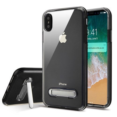 iPhone XS Max Hybrid Phone Case w/Magnetic Metal Stand- Black/Clear