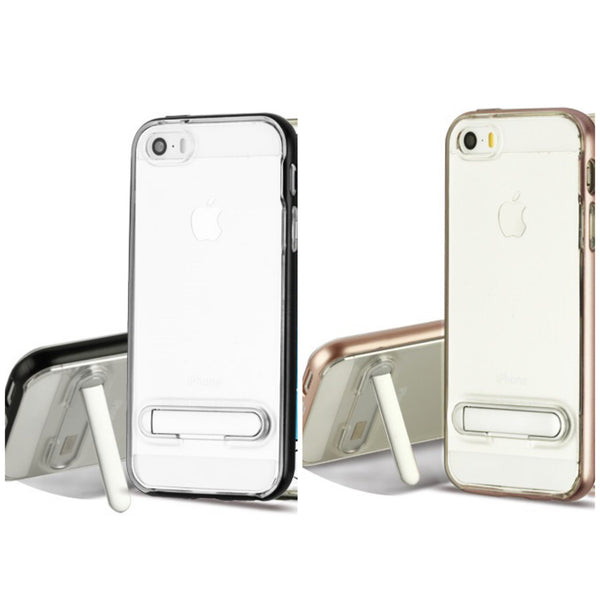 iPhone 5/5S/SE, Clear Hybrid Phone Case (with Magnetic Metal Stand) - JandJCases
