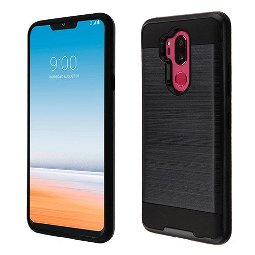 LG G7 Thin Q, Black Brushed Hybrid Phone Case (with Package)