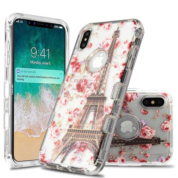 iPhone XS Max TUFF Lucid Hybrid Phone Case Clear/Paris in Full Bloom