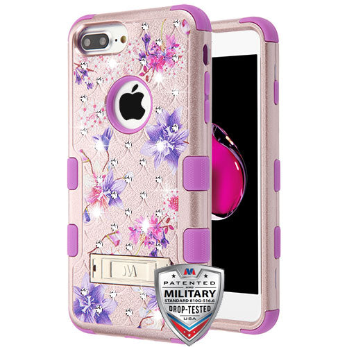 iPhone 7 Plus/8 Plus, MYBAT Purple Stargazers (Rose Gold) FullStar TUFF Hybrid Phone Case - JandJCases