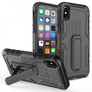 Apple iPhone X / Xs - Armor Hybrid Heavy Duty Cover with Kickstand - Black