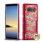 Galaxy Note 8, Metallic Red/Electroplating Hibiscus Flower Hybrid Phone Case - JandJCases