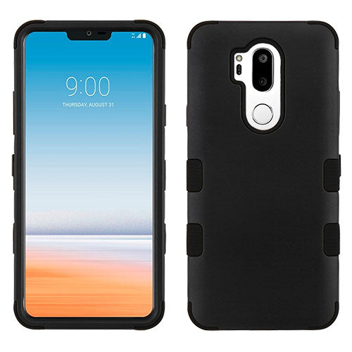 LG G7 Thin Q, Rubberized Black/Black TUFF Hybrid Phone Case [Military-Grade Certified](with Package)