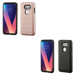 LG V30, ASMYNA Brushed Hybrid Cover (with Carbon Fiber Accent) - JAndJCases